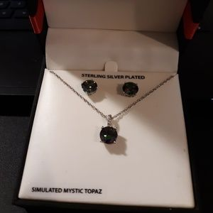 Sterling silver mystic topaz necklace boxed set